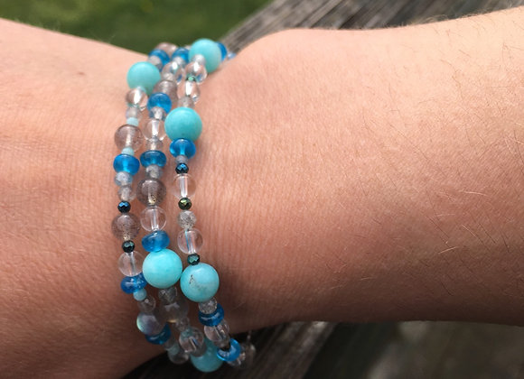Three strand labradorite, Amazonite, apatite bracelet