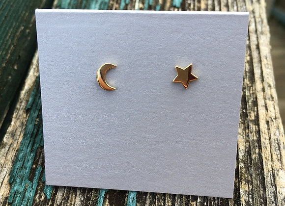 14 carat gold fill moon and star studs