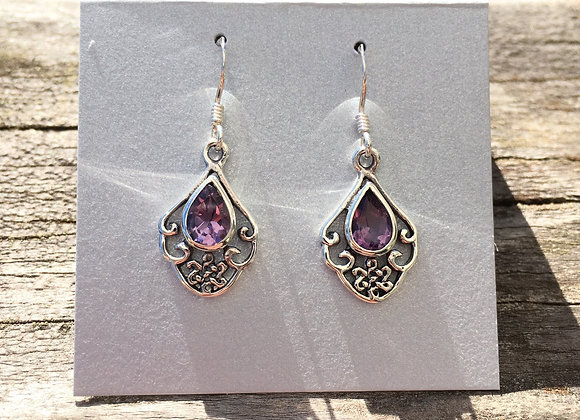 Amethyst Celtic knot earrings