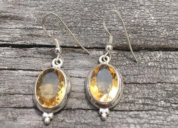 Large oval citrine earrings