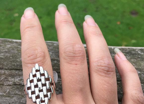 Checker cutout long silver ring Size 9