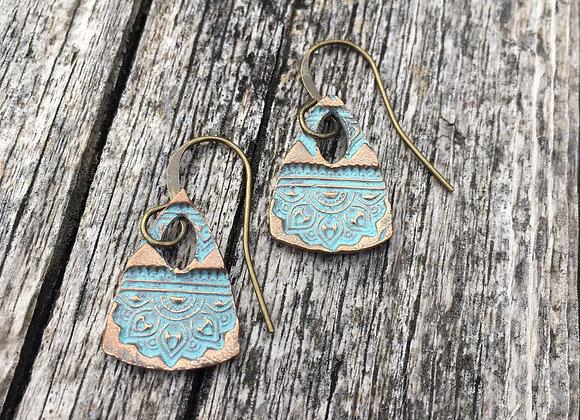 Alasha bronze triangle earrings