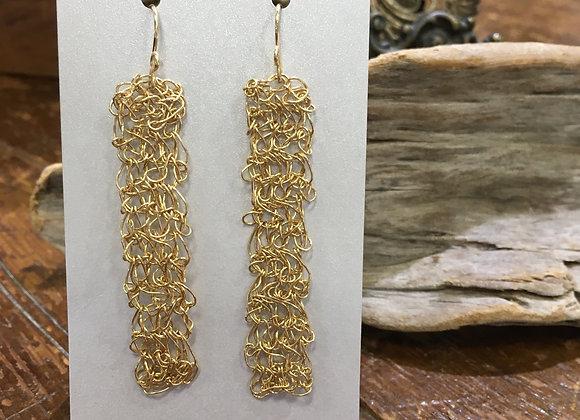 Streetcat Designs long gold fill rectangle crochet earrings