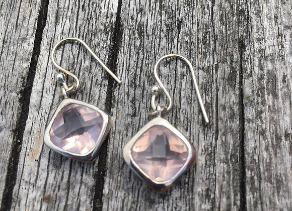 Faceted rose quartz earrings