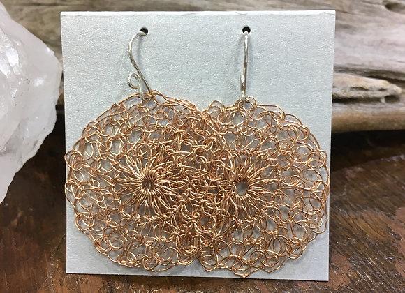 Streetcat Designs large rose gold fill crochet earrings