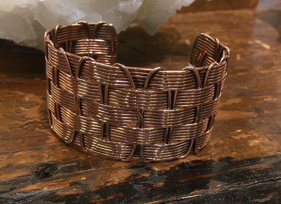Wide basket weave copper cuff