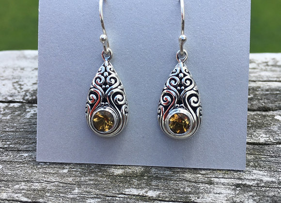 Teardrop ornate citrine earrings