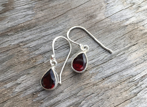 Small garnet teardrop earrings