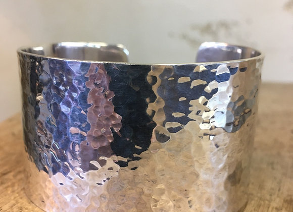 Roulette 18 wide hammered silver cuff