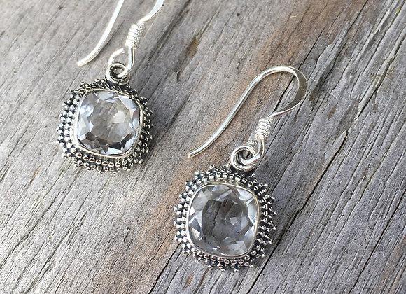 Granulation setting clear quartz earrings