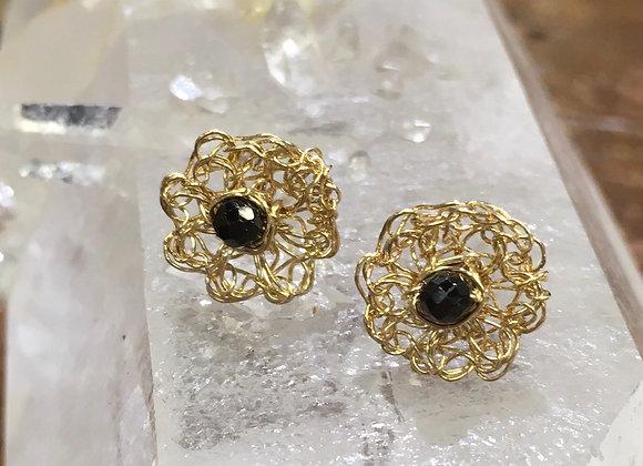 Streetcat Designs black spinel gold fill crochet studs