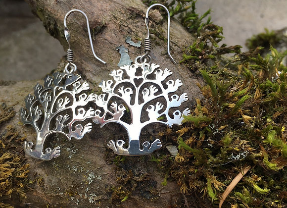 Huichol inspired tree of life earrings