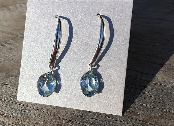 Blue topaz long drop earrings