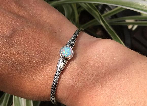 Single stone opal toggle bracelet