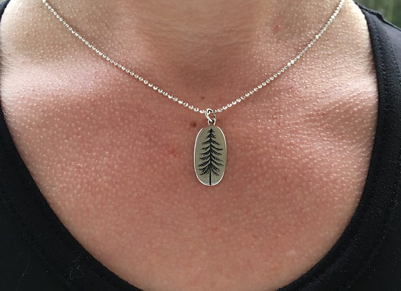 Pine tree oxidized silver pendant