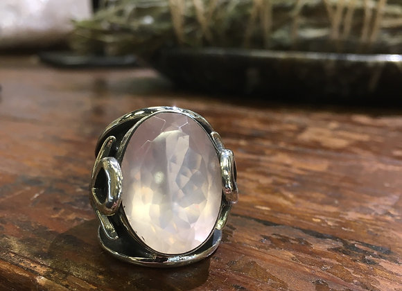 Mercurious Designs Ankh rose quartz ring