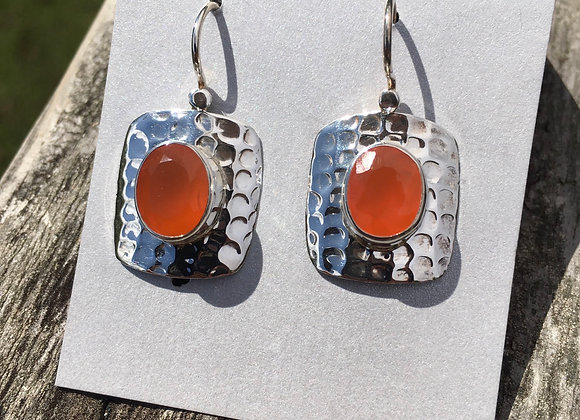 Carnelian in hammered silver setting