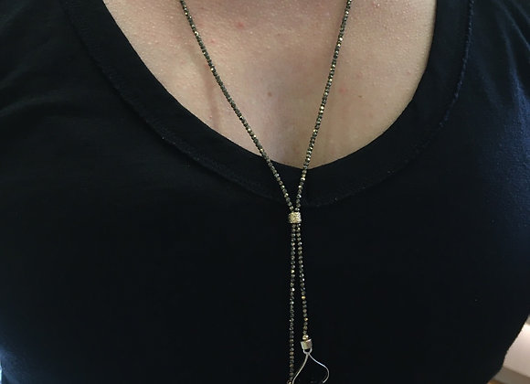 Pyrite and black tourmaline long lariat style necklace