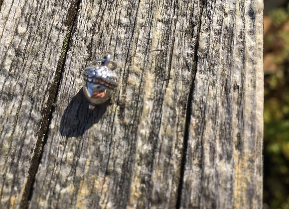 Small silver acorn charm