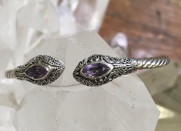 Amethyst hinged cuff bracelet