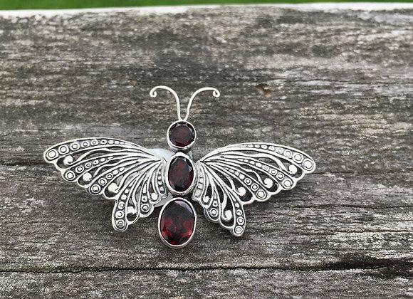 Garnet butterfly pendant