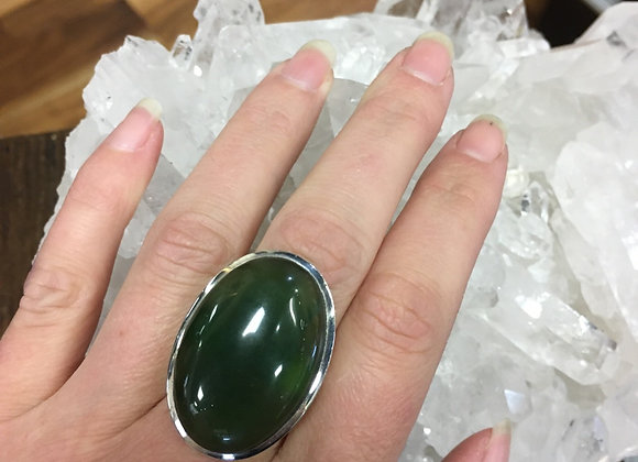 Large oval jade ring