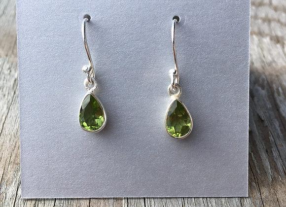 Small peridot drop earrings
