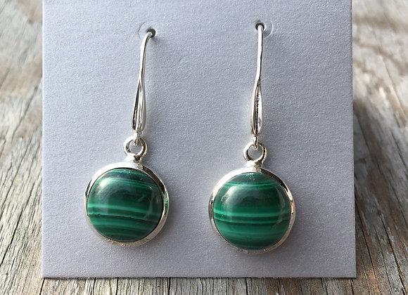 Round malachite earrings
