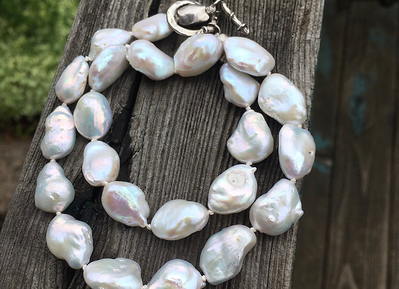 Asymmetrical freshwater pearl necklace
