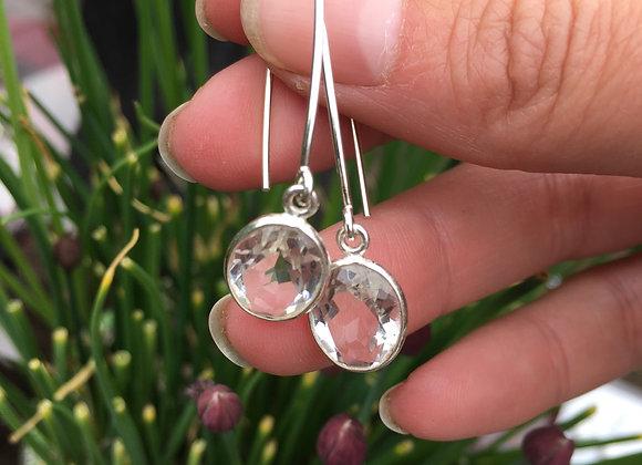 Quartz crystal long drop earrings
