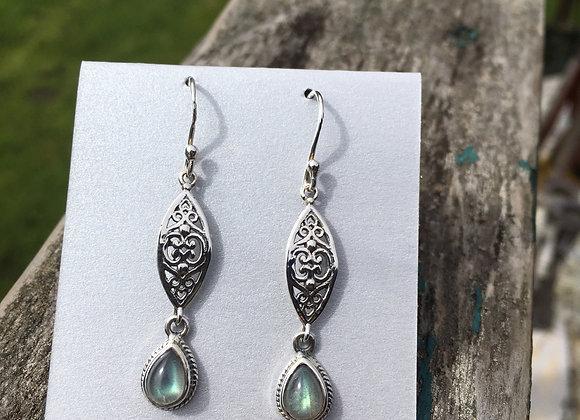 Long cutout silver with labradorite drop earrings