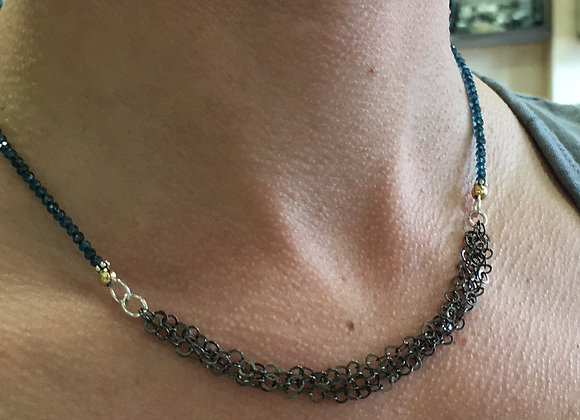 Apatite and black silver necklace