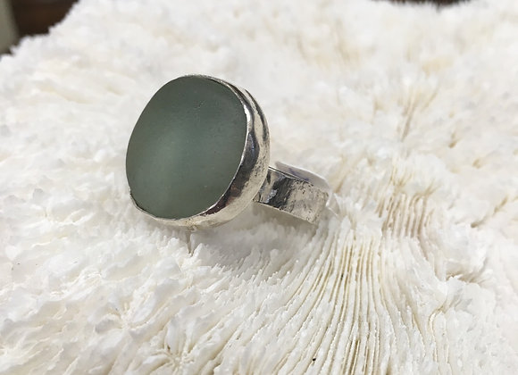 Waters edge silver soft green sea glass ring