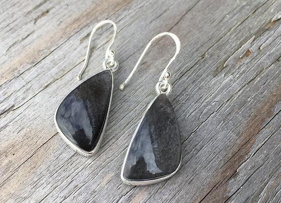 Silver sheen obsidian asymmetrical earrings