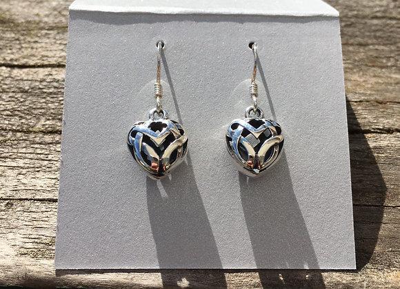 Small puffy heart Celtic earrings