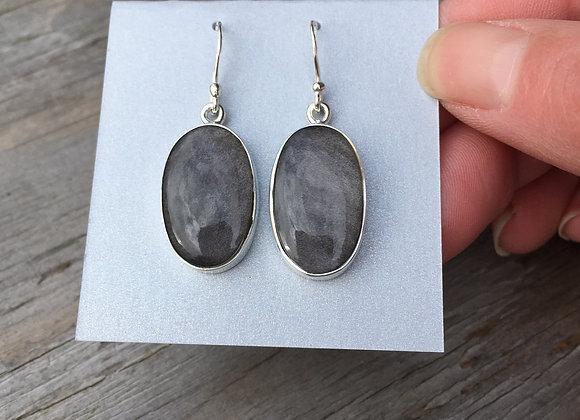 Silver sheen obsidian oval earrings