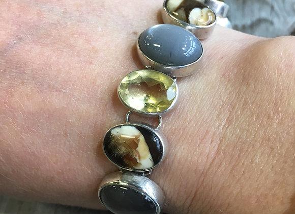 Grey moonstone, citrine and fossilized peanut wood bracelet