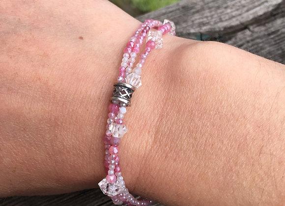 Three strand pink spinel and Herkimer diamond bracelet