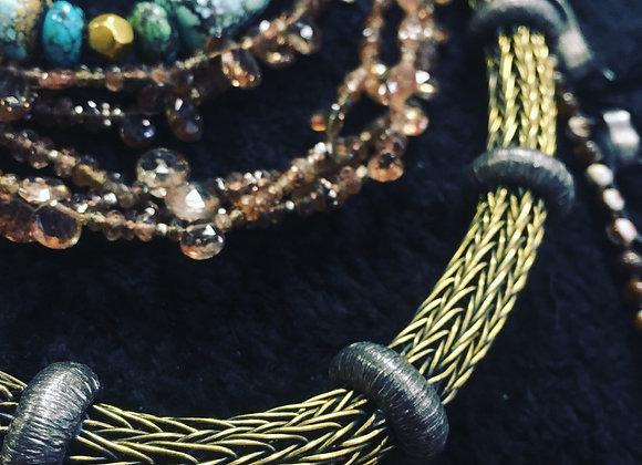 Mariella Pilato Bronze and Silver necklace.