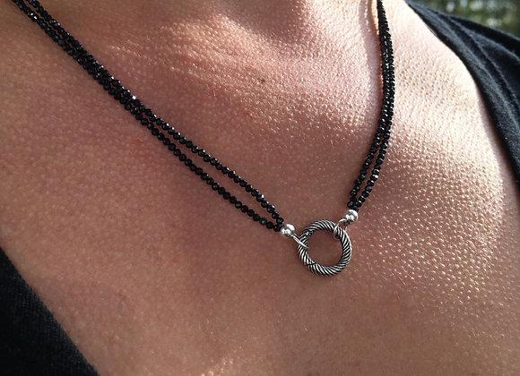 Black spinel two strand enhancer necklace