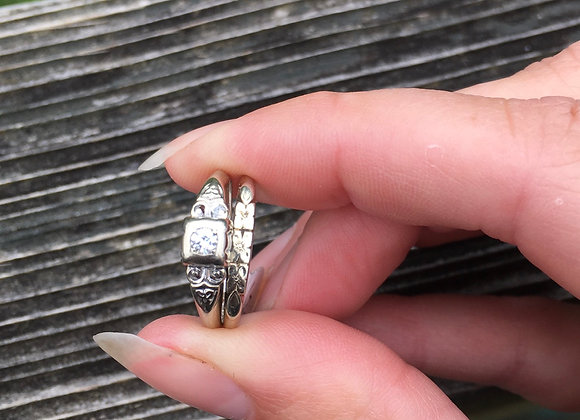 Vintage white gold wedding ring set