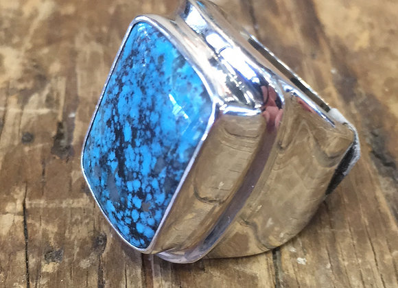 Saville wide band turquoise ring