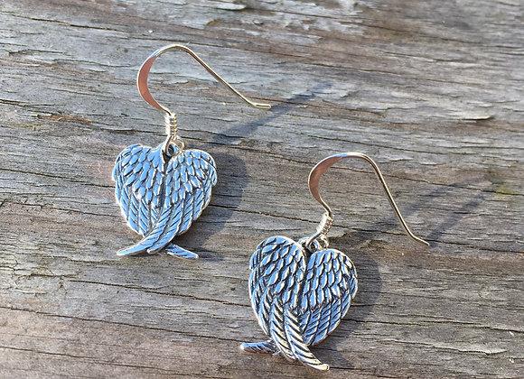Detailed angel wing earrings