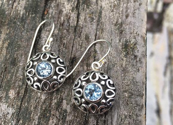 Round cutout silver blue topaz earrings