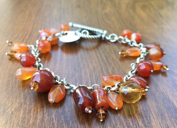 Bosco Bling carnelian and citrine charm bracelet.