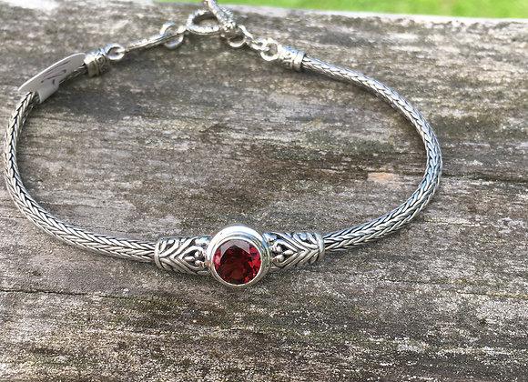Single stone toggle clasp garnet bracelet