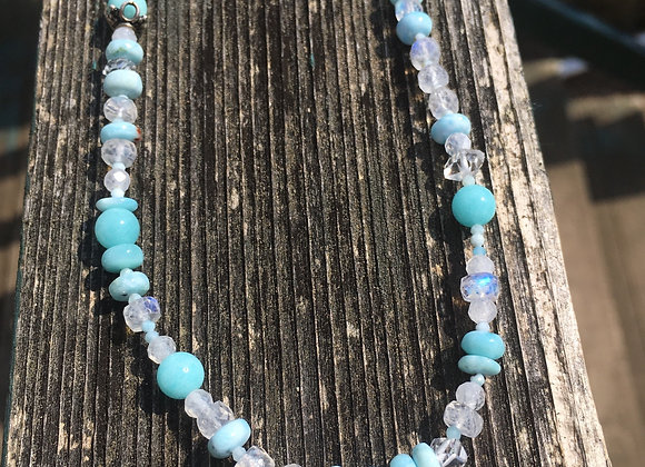 Moonstone, larimar, amazonite necklace