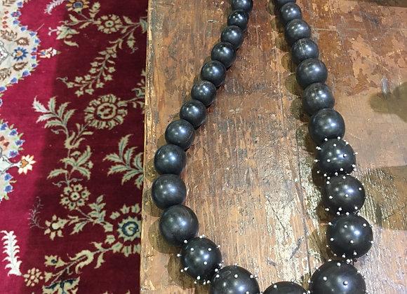 Mariella Pilato chunky studded wood necklace