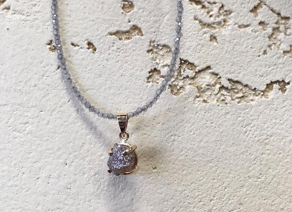 Silver raw diamond pendant