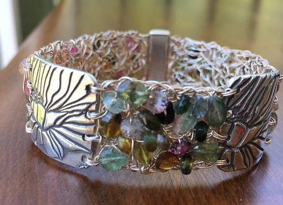 Bosco Bling crochet sterling silver tourmaline bracelet